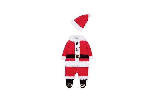 Unisex Full Sleeves Santa Romper With Hat - Red