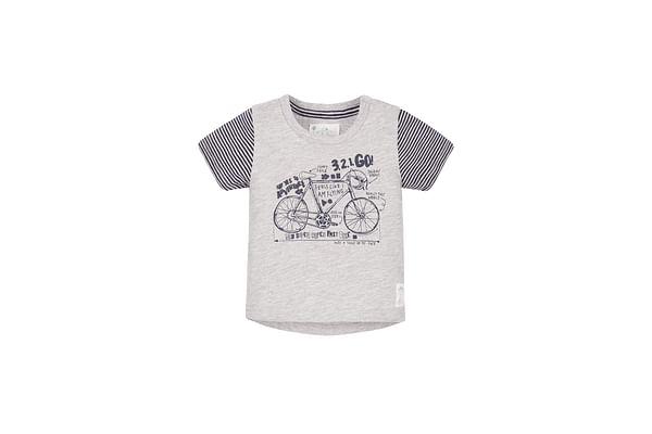 Boys Half Sleeves T-Shirt Bicycle Print - Grey