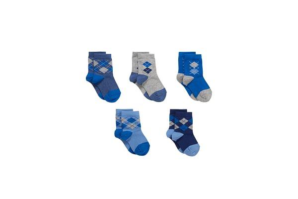 Boys  Socks Argyle Design - Pack Of 5 - Blue
