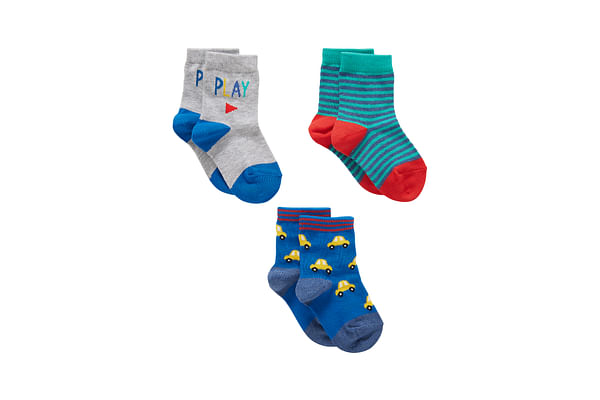Boys  Socks Striped And Car Design - Pack Of 3 - Multicolor