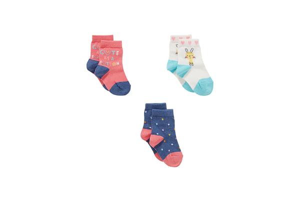 Girls  Socks Text And Polka Dot Design - Pack Of 3 - Multicolor
