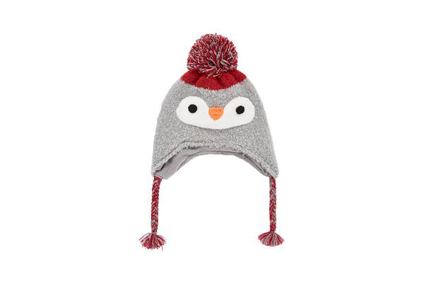 Boys Hat 3D Penguin Detail - Grey