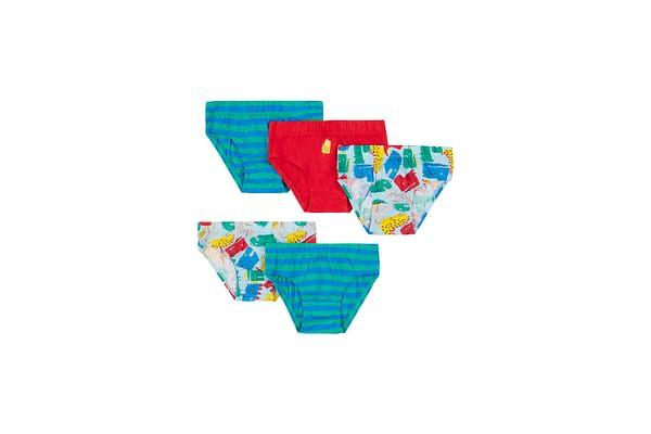 Boys Briefs Dino Print - Pack Of 5 - Multicolor