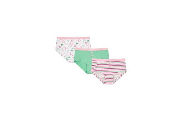 Girls Briefs Striped And Heart Print - Pack Of 3 - Multicolor