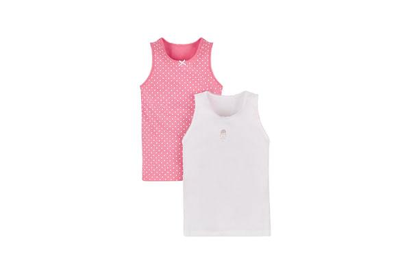 Girls Sleeveless Vest Polka Dot Print - Pack Of 2 - Pink