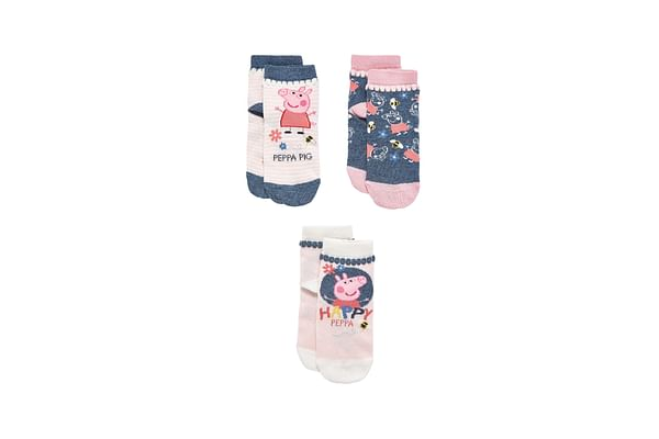 Girls Socks Peppa Pig Design - Pack Of 3 - Pink