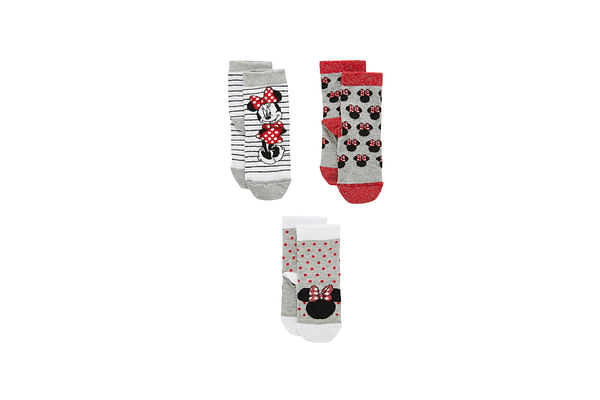Girls Socks Minnie Mouse Design - Pack Of 3 - Grey