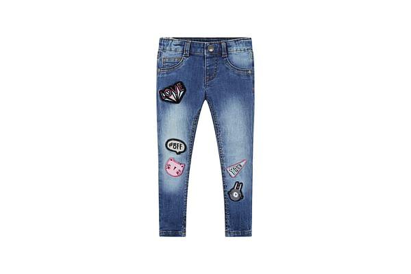 Girls Jeans Badge Detail - Blue