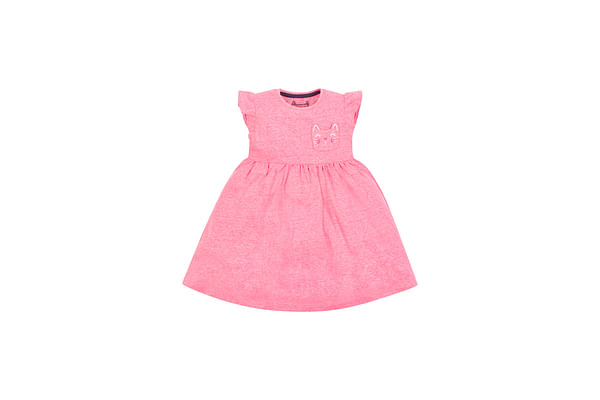 Girls Half Sleeves Dress With Cat Pocket - Pink