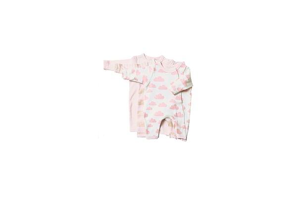 Girls Full Sleeves Romper Cloud Print - Pack Of 3 - Pink