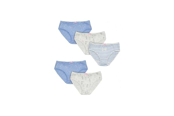 Girls Briefs Printed And Striped - Pack Of 5 - Blue