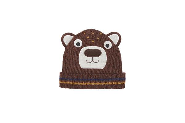 Boys Beanie 3D Bear Details - Brown