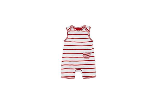 Boys Sleeveless Romper Striped - Red