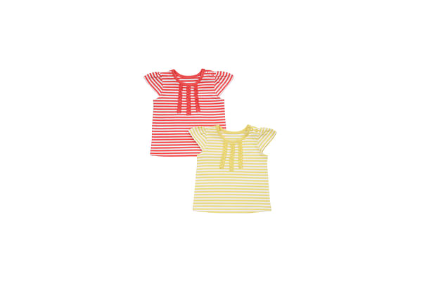 Girls Half Sleeves T-Shirt Ruffle Detail - Pack Of 2 - Multicolor