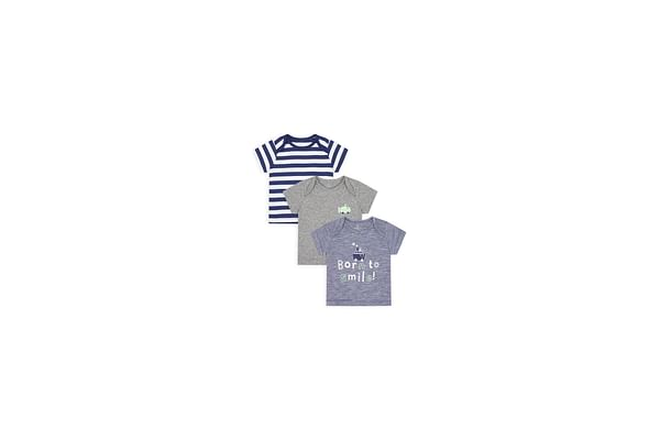 Boys Half Sleeves T-Shirt Striped And Embroidered - Pack Of 3 - Multicolor