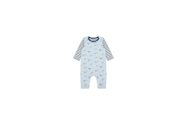 Boys Full Sleeves Dungaree Set Striped And Dino Print - Blue