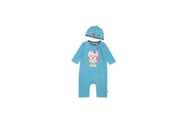 Girls Full Sleeves Romper Owl Patchwork - Blue
