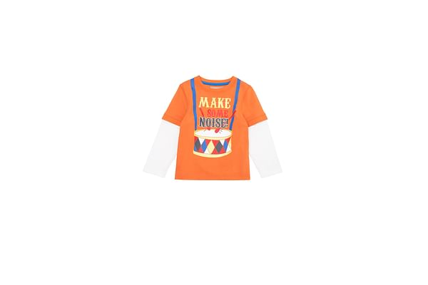 Boys Half Sleeves T-Shirt Text Print - Orange