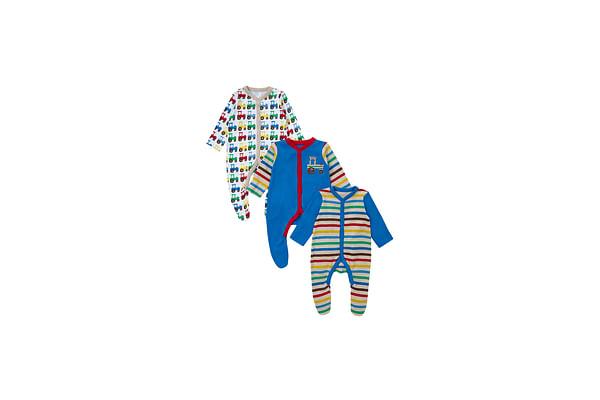 Boys Full Sleeves Sleepsuit Striped - Pack Of 3 - Multicolor