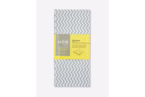 Mila Baby - Grey Chevron - Flat Sheet