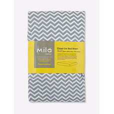 Mila Baby - Grey Chevron - Fitted Cot Bed Sheet Large