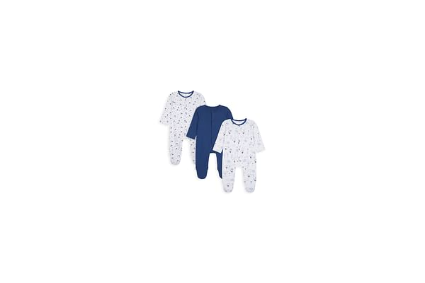 Boys Full Sleeves Sleepsuit Star And Bunny Print - Pack Of 3 - White Blue