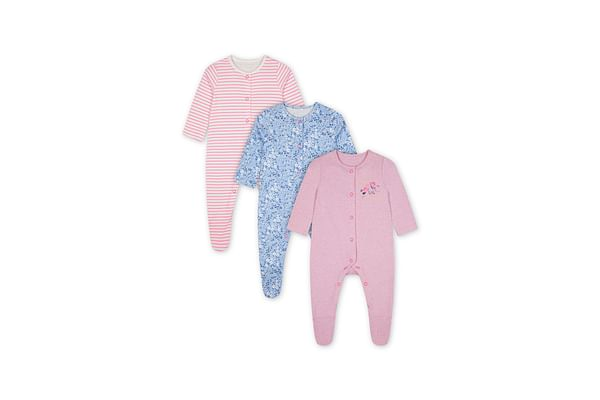Girls Full Sleeves Sleepsuit Printed And Striped - Pack Of 3 - Multicolor