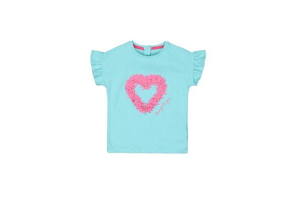 Girls Half Sleeves T-Shirt Heart Embroidery Detail - Green