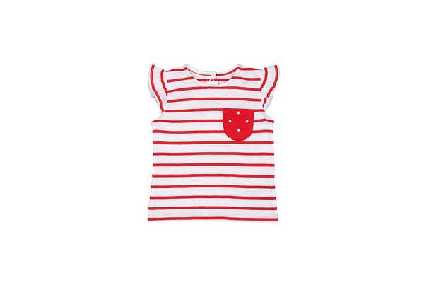 Girls Half Sleeves T-Shirt Striped - Red