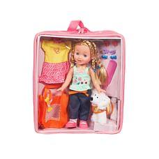 Calinou Doll And Dog Set (Pink)