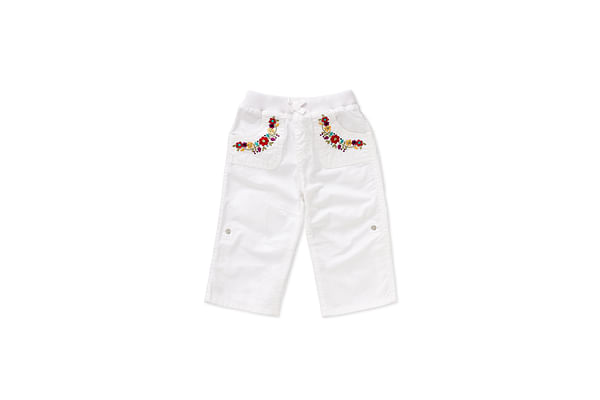 Girls Trousers Floral Embroidery - White