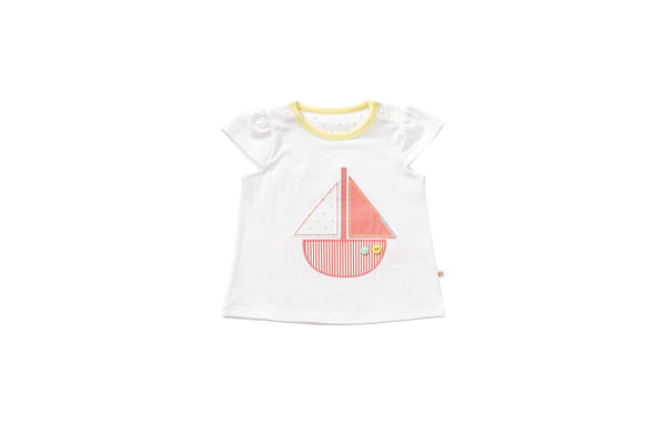 Girls Half Sleeves T-Shirt Boat Patchwork - White