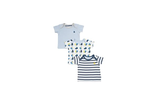 Boys Half Sleeves T-Shirt Striped And Boat Print - Pack Of 3 - Blue