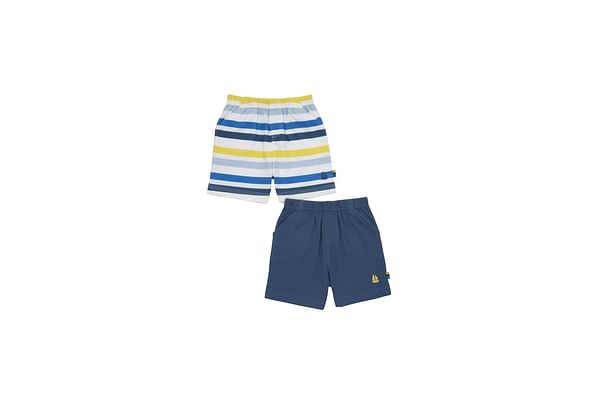 Boys Shorts Boat Embroidery - Pack Of 2 - Multicolor