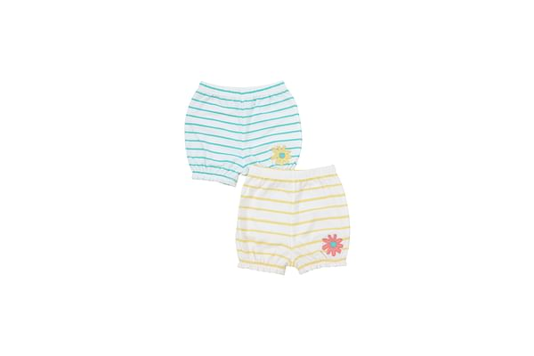 Girls Striped Shorts Flower Patchwork - Pack Of 2 - Multicolor