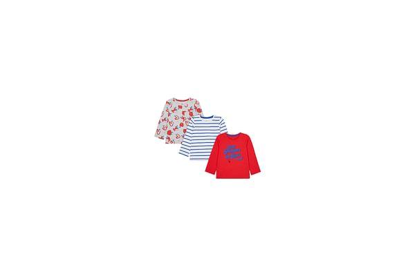 Girls Full Sleeves T-Shirt Stripe And Apple Print - Pack Of 3 - Multicolor