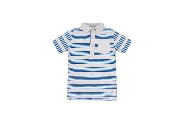 Grey And Blue Stripe Polo Shirt