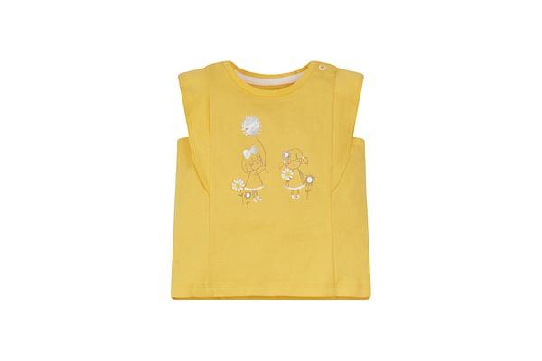 Yellow Girl Frill-Sleeve T-Shirt