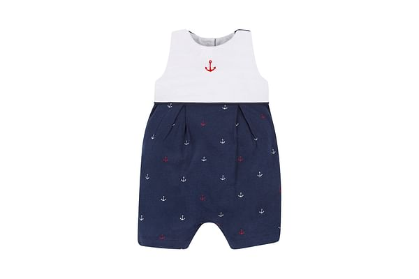 White And Navy Anchor Romper