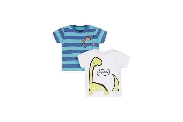Striped Dinosaur T-Shirts - 2 Pack