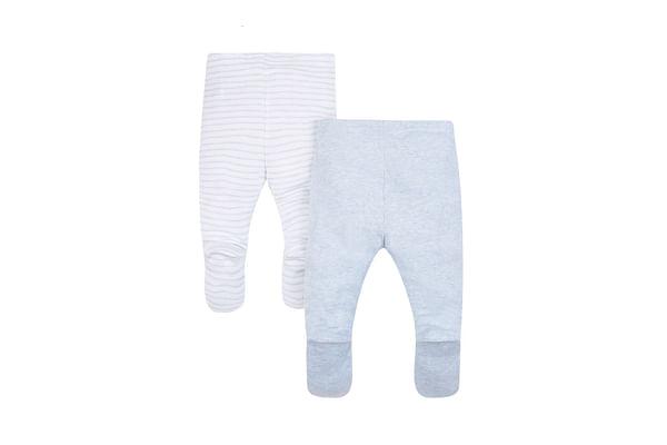 Boys Leggings With Foot Melange Stripe - Pack Of 2 - Blue
