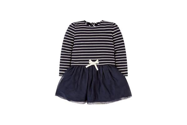 Navy Stripe Twofer Dress