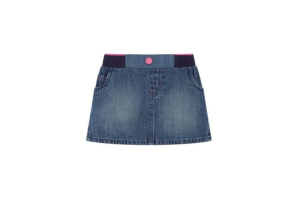 Ribbed Waist Denim Skirt