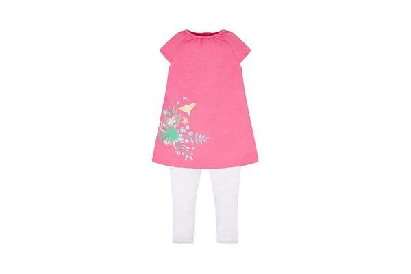 Pink Border Print Blouse And Leggings Set