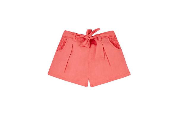 Coral Embroidered Poplin Shorts