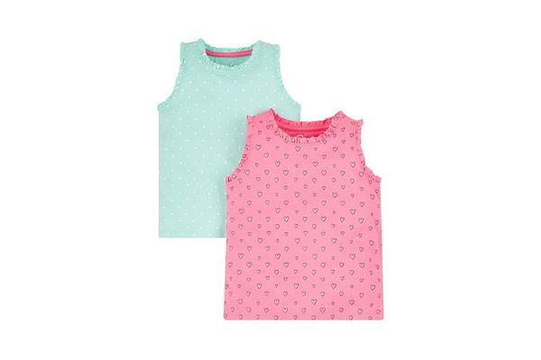 Pink And Aqua Spot Tops - 2 Pack