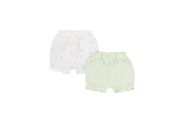 Mint And White Broderie Bloomer Shorts - 2 Pack
