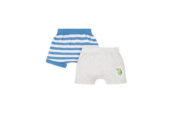 Grey And Blue Stripe Shorts - 2 Pack
