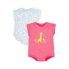 Pink And Aqua Giraffe Bodysuit