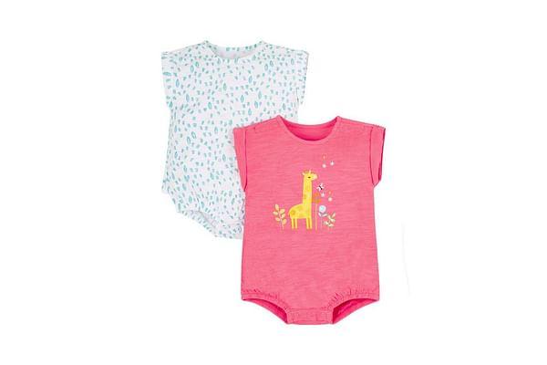 Pink And Aqua Giraffe Bodysuit
